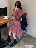 長袖洋裝 秋季年新款系帶收腰顯瘦氣質碎花長袖連身裙女法式中長款裙子 萊俐亞