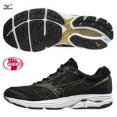 MIZUNO WAVE RIDER 22 SW 男鞋 慢跑 路跑 寬楦 耐磨 防滑 網布 透氣 黑 金【運動世界】 J1GC183209