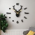 免打孔diy鹿頭掛鐘北歐創意現代簡約客廳時鐘家用時尚裝飾藝術錶  【端午節特惠】