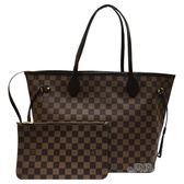 【Louis Vuitton 路易威登】N41358 NEVERFULL MM 棋盤格紋子母束口購物包(紅)