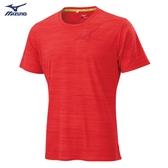 MIZUNO 男裝 短袖 上衣 T恤 慢跑 路跑 吸汗快乾 反光燙印 橘紅【運動世界】J2TA000556