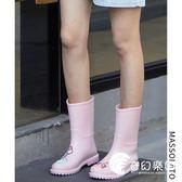 雨靴-雨鞋女韓國可愛水鞋中筒夏季時尚防水鞋套鞋防滑膠鞋戶外成人雨靴-奇幻樂園