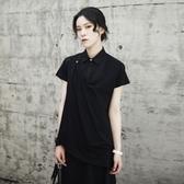 短袖襯衫-中長款假兩件斜下擺個性有型女上衣2色73sl15【巴黎精品】