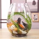 養殖箱烏龜缸創意桌面魚缸生態圓形玻璃金魚缸烏龜缸迷你小型造景家用水族箱YJT 【快速出貨】