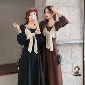 泡泡袖洋裝 秋季2020新款韓版方領設計感蝴蝶結中長款長袖洋裝女裝