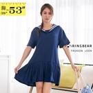 氣質洋裝--日系海軍風簡約質感水手服中厚感雪紡紗連身百褶裙(藍XL-5L)-D436眼圈熊中大尺碼