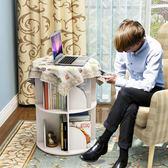 創意旋轉書架360度書櫃現代簡約置物架兒童轉角桌上簡易學生落地  IGO