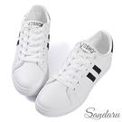 小白鞋 經典雙槓撞色綁帶休閒鞋-黑白