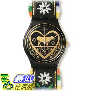 [美國直購] Swatch GB285 Die Glocke Black Dial Floral Embroidery Leather Women Watch NEW 手錶