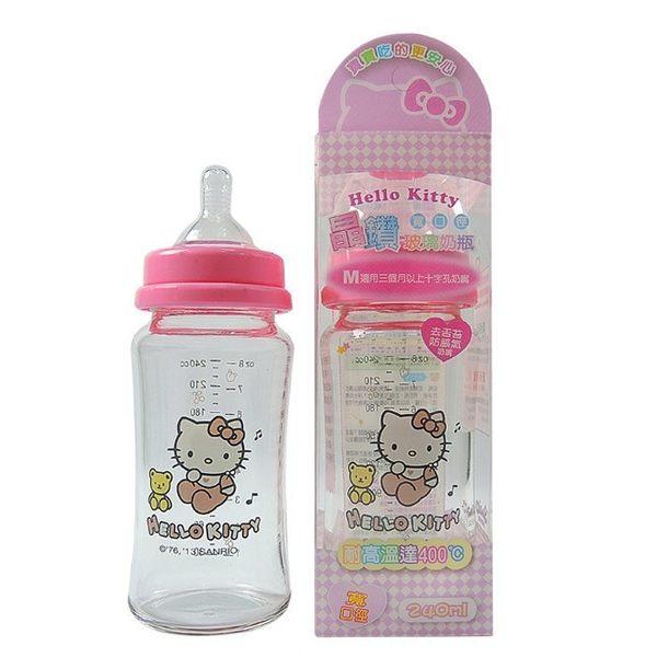 HELLO KITTY 晶鑽玻璃奶瓶寬口徑 240ml