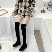 時尚性感冬季長筒靴女低跟絨面英倫風時尚學生過膝靴 - 風尚3C