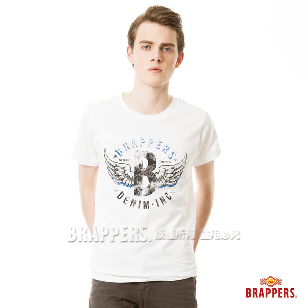 BRAPPERS 男款 日本製大翅膀印花短袖上衣- 白