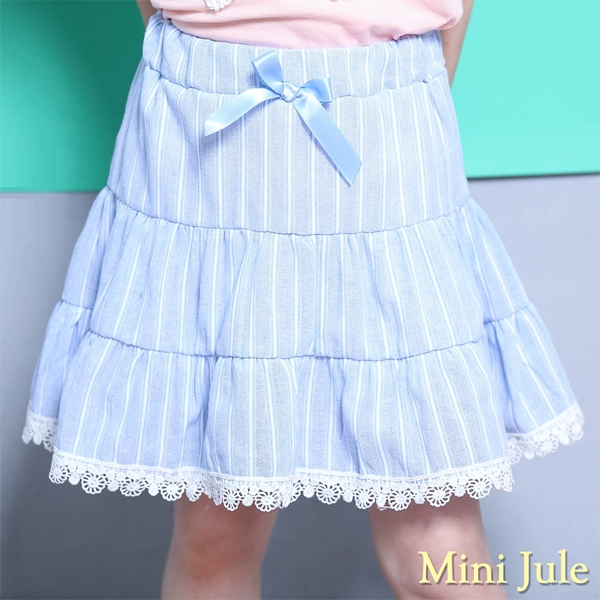 Mini Jule 女童 裙子 蝴蝶結緞帶條紋鬆緊裙(藍)