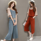 VK旗艦店 韓國風休閒寬鬆吊帶背心寬口褲時尚套裝短袖褲裝
