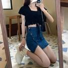 短裙 高腰半身裙女2021春季新款韓版不規則包臀牛仔裙短袖上衣兩件套裝