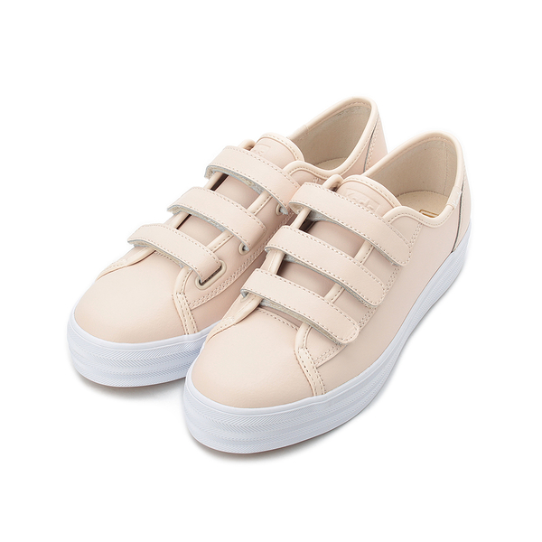 KEDS TRIPLE KICK 時尚皮革厚底魔鬼氈休閒鞋 膚粉 9193W132809 女鞋
