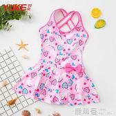 兒童泳衣 女童韓版連體公主裙式寶寶可愛游泳衣女孩學生泡溫泉泳裝『鹿角巷』