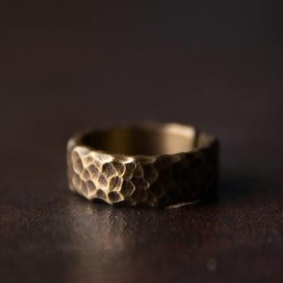 手工肌理銅戒指朋克復古個性情侶開口指環(中)/設計家