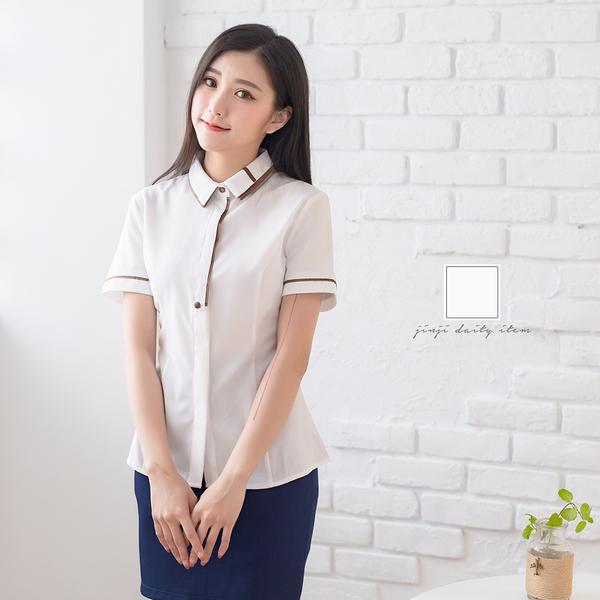 醫美制服/雙領暗釦短袖白襯衫【Sebiro西米羅男女套裝制服】028001651