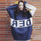 (全館一件免運)DE SHOP~(RT-5522)拼接字母中長款寬鬆套頭毛衣女長袖外搭針織衫