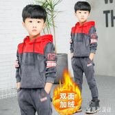 金絲絨加絨男童套裝 冬新款兒童洋氣衛衣冬季兩件套潮衣 BF17611『寶貝兒童裝』
