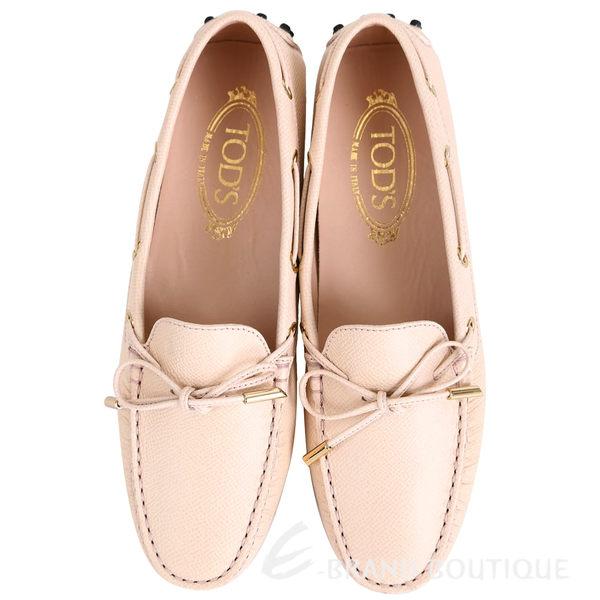 TOD'S Gommino 壓紋牛皮綁帶豆豆休閒鞋(女鞋/米白色) 1540692-03