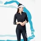 白條防曬外套泳裝泳衣現貨台灣製造美國杜邦萊卡【36-66-8WH1104-21】ibella 艾貝拉