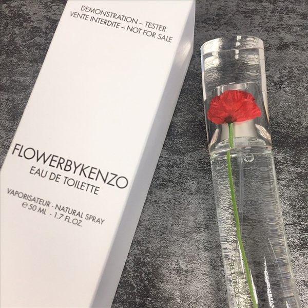 KENZO FLOWERBY 罌粟花 女性淡香水 50ml TESTER 有蓋◐香水綁馬尾◐