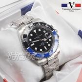 valentino coupeau范倫鐵諾 不鏽鋼 防水手錶 男錶 潛水錶 水鬼 石英錶 日期視窗 V61589B黑