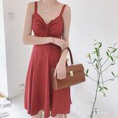 韓風Chic復古收腰修身小性感吊帶裙露肩心機顯瘦A字洋裝女學生 早秋促銷