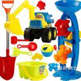 兒童沙灘玩具套裝決明子挖沙挖掘機工程車寶寶沙子戲水鏟子工具(1件免運)