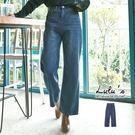 LULUS-P刷色車線牛仔寬褲S-L-深藍  現【04011283】
