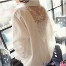 熱賣飛鼠袖上衣 2021春裝中長款寬鬆白色襯衫女百搭上衣輕熟V領露背蕾絲長袖襯衣【618 狂歡】