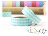 紙膠帶-和紙膠帶格紋 淡藍色-