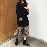 秋季新款韓版寬鬆拼接假兩件長袖衛衣連身裙女中長款過膝裙子 韓國時尚週