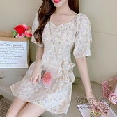 蕾絲洋裝 夏季蕾絲碎花甜美顯瘦泡泡袖白色小個子法式洋裝短裙女裙子 衣櫥秘密