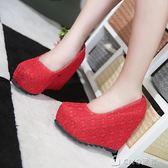 春秋結婚鞋紅色冬季坡跟新娘鞋中高跟孕婦婚禮鞋女單鞋防水台紅鞋 ciyo黛雅