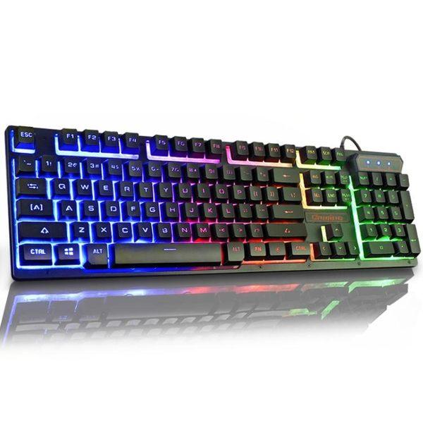 機械鍵盤  背光游戲電腦臺式家用發光機械手感筆記本外接USB有線鍵盤【快速出貨八五折下殺】