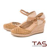 TAS 簡約一字草編楔型涼鞋-俐落卡其