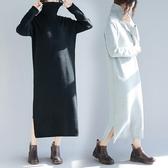 大尺碼 胖妹妹毛衣女寬鬆大碼200斤胖mm韓版中長款保暖高領打底連衣裙子  快速出貨