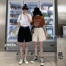 女裝韓版寬松五分工裝褲高腰休閒五分褲闊腿褲短褲 腰帶兩件套裝 ciyo 黛雅