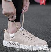 帆布鞋夏季帆布鞋男鞋子小白鞋板鞋潮流透氣亞麻布鞋休閒鞋百搭潮鞋 伊蒂斯女裝