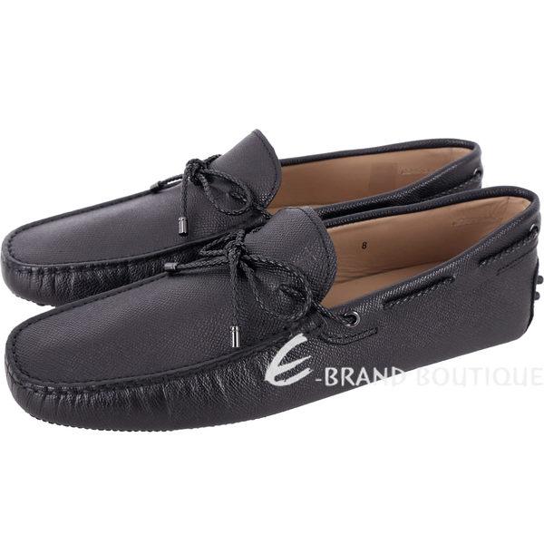 TOD'S Gommino 壓紋牛皮編織綁帶休閒豆豆鞋(男鞋/藍黑色) 1820079-01