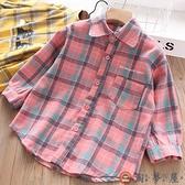 女童格子襯衫兒童洋氣長袖純棉襯衣外套上衣【淘夢屋】