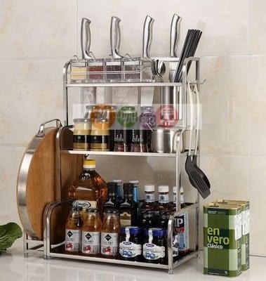 廚房置物收納架  不鏽鋼調味料架 3層刀架壁挂式 30CM長+筷筒+4掛鉤(帶砧板架)【潮咖範兒】