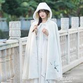 冬裝新款復古中國風漢元素刺繡斗篷長款連帽加絨披風大衣毛呢外套  9號潮人館