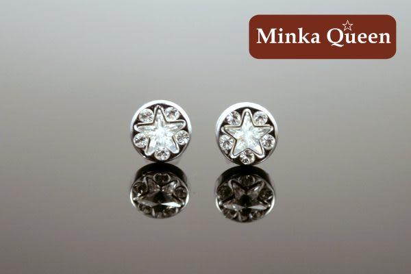 德國鈦鋼 白鑽施華洛星星造型 精緻水鑽抗敏耳環(一對)(8 mm)