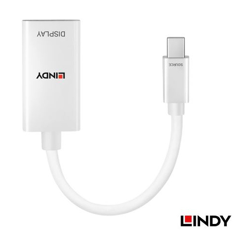 LINDY 林帝 41063 MiniDP1.2轉HDMI2.0 HDR 轉換器