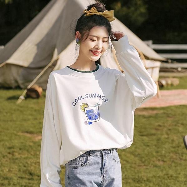 2020秋冬新款撞色套頭白T恤女長袖字母打底衫學生拼接上衣