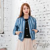 【ef-de】激安 純棉舞蝶直紋拉鍊外套(藍)